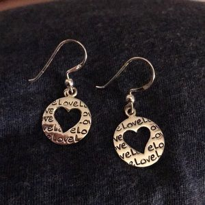 "Jewelry - Heart ""love"" dangle earrings"